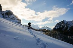 Silouette of man in mountain Royalty Free Stock Image