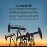 Silouette produtor de óleo do equipamento Pictograma preto no fundo da cor Ilustração do vetor com texto ilustração stock