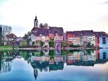 Silouette van Laufenburg Stock Afbeelding