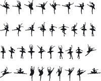 silouettes μπαλέτου Στοκ εικόνες με δικαίωμα ελεύθερης χρήσης
