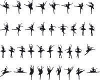 silouettes балета Стоковые Изображения RF