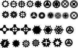 32 silouettes da engrenagem ilustração do vetor