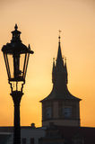 Silouettes at Dawn. Silhouettes at dawn in Prague Czech Republic Royalty Free Stock Photo