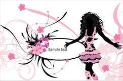 silouhette предпосылки женское флористическое Стоковые Изображения RF
