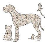 Silouhette de um cão, de um gato, de um roedor e de um réptil Fotografia de Stock Royalty Free