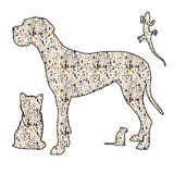 Silouhette of a dog, a cat, a rodent and a reptile royalty free illustration