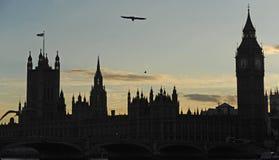 Silouhette van het Parlement in Londen. Royalty-vrije Stock Fotografie