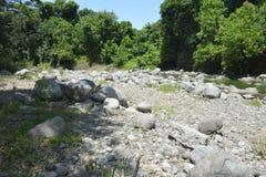 Silted del av den Ruparan floden på barangay Ruparan, Digos stad, Davao del Sur, Filippinerna royaltyfria foton