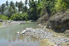 Silted del av den Ruparan flodstranden på barangay Ruparan, Digos stad, Davao del Sur, Filippinerna arkivbilder