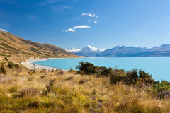 Silty glacier Lake Pukaki Aoraki Mt Cook NP NZ Royalty Free Stock Images