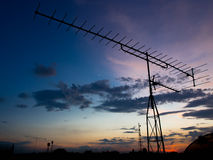 Silueta de una antena Foto de archivo libre de regalías
