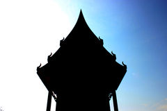 Siluate Large thai church, Thailand: Wat Aownoi Prachubkhirikhan Royalty Free Stock Photos