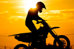 Siluate motard racer Royalty Free Stock Image