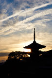 Siluate photo of Pagoda in Kyoto. City, Japan Royalty Free Stock Photos