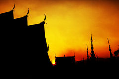 Siluate sunset time buddhist temple Royalty Free Stock Image