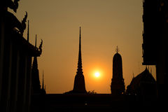 Siluate Wat Pho sunset temple,Bangkok in Thailand Stock Photography