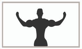 Siluet体型展示二头肌 免版税图库摄影