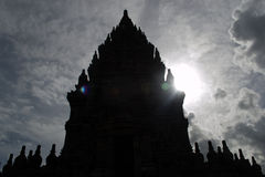 Siluet de temple de Prambanan photographie stock