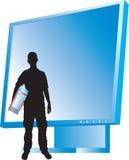 Siluet degli uomini e del video con il calcolatore Fotografie Stock
