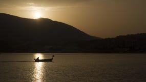 Siluet of  fisherman Royalty Free Stock Image