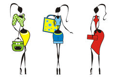 Siluet_girls with bags Stock Photo