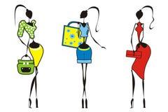 Siluet_girls con los bolsos Foto de archivo