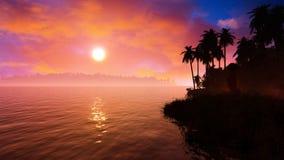 Silueta épica de la puesta del sol de las islas tropicales stock de ilustración
