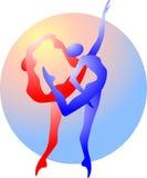 Silueta abstracta de gimnastas Imagen de archivo
