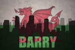 Silueta abstracta de la ciudad con el texto Barry en la bandera de País de Gales del vintage imagen de archivo libre de regalías