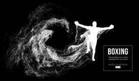 Silueta abstracta de un boxeador, Muttahida Majlis-E-Amal, combatiente del ufc en el fondo oscuro, negro El boxeador es ganador I