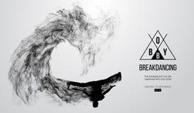 Silueta abstracta de un breakdancer, hombre, bboy, triturador, rompiéndose en el fondo blanco Bailarín del hip-hop Vector