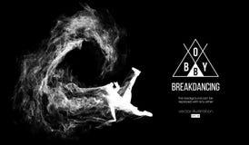 Silueta abstracta de un breakdancer, hombre, bboy, triturador, rompiéndose en el fondo negro oscuro Bailarín del hip-hop Vector