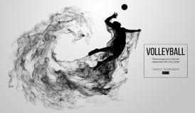Silueta abstracta de un hombre del jugador de voleibol en el fondo blanco de partículas Ilustración del vector