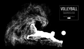 Silueta abstracta de un hombre del jugador de voleibol en fondo oscuro, negro de partículas Ilustración del vector
