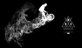 Silueta abstracta de un jinete del bmx en el fondo oscuro, negro de partículas El jinete de Bmx salta y realiza el truco
