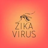 Silueta abstracta de un mosquito con el virus Zika del texto Imágenes de archivo libres de regalías