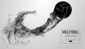 Silueta abstracta de una bola del voleibol en el fondo blanco La bola del voleibol está volando Ilustración del vector