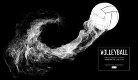 Silueta abstracta de una bola del voleibol en fondo oscuro, negro La bola del voleibol está volando Ilustración del vector