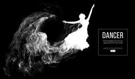 Silueta abstracta de una muchacha dencing, mujer, bailarina en el fondo oscuro, negro Ballet y danza moderna stock de ilustración