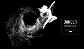 Silueta abstracta de una muchacha dencing, mujer, bailarina en el fondo oscuro, negro Ballet y danza moderna