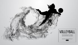 Silueta abstracta de una mujer del jugador de voleibol en el fondo blanco de partículas Ilustración del vector