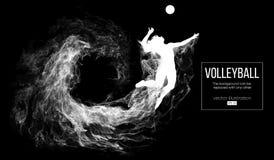 Silueta abstracta de una mujer del jugador de voleibol en fondo oscuro, negro de partículas Ilustración del vector