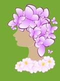 Silueta abstracta hermosa de una muchacha con las mariposas y las flores en su cabeza Vector Foto de archivo