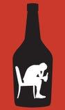 Silueta adolescente del alcohólico del muchacho Imágenes de archivo libres de regalías