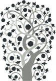 Silueta adornada del árbol de la vendimia Imagen de archivo