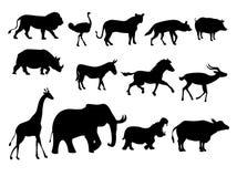 Silueta africana de los animales Imagen de archivo