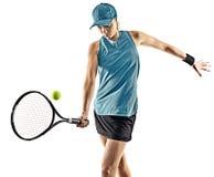 Silueta aislada mujer del tenis Imagen de archivo libre de regalías