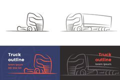 Silueta aislada resumida camión europeo Vector Texto resumido Imágenes de archivo libres de regalías
