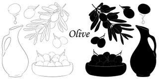 Silueta aislada verde oliva y bosquejo en el fondo blanco libre illustration