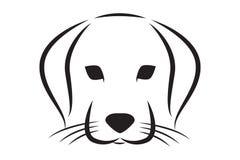 Silueta alineada del vector de la cabeza de perro ilustración del vector